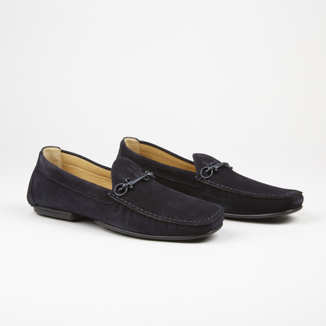 Suede Buckle Driver // Navy (US: 6)