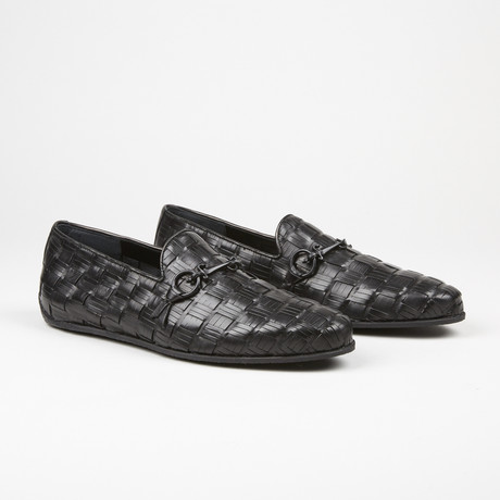 Woven Buckle Loafer // Black (US: 6.5)