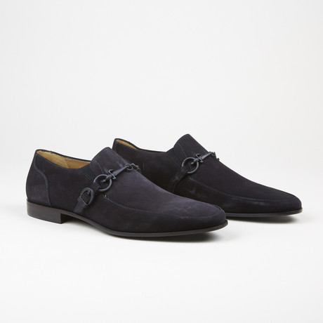 Suede Buckle Loafer // Navy (US: 7)