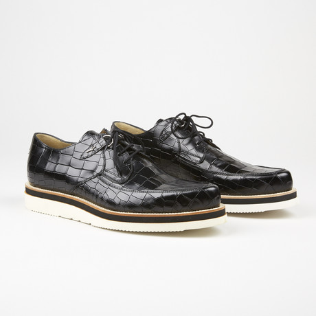 Alligator Design Lace Up Loafer // Black (US: 6)