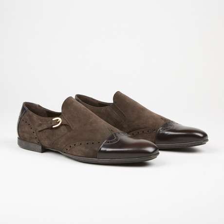 Suede Single Monk Strap // Brown (US: 6)