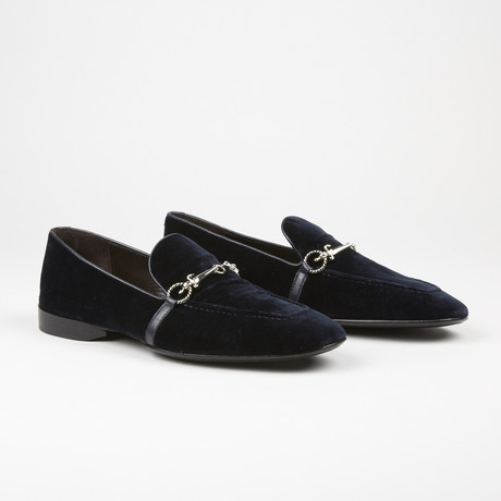 Velvet Buckle Loafer // Navy (US: 6)
