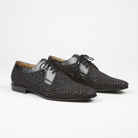 Woven Lace Up Loafer // Black (US: 6)