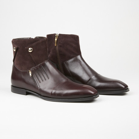 Suede Zipper Boot // Burgundy (US: 7)