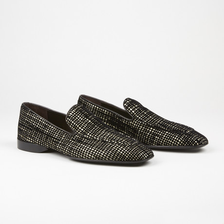 Velvet Loafer // Black + Gold (US: 6.5)
