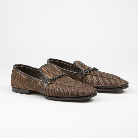 Textured Buckle Loafer // Brown (US: 6)