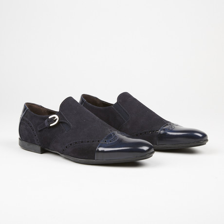 Suede Single Monk Strap // Navy (US: 7)