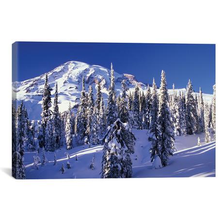 "Snow-Covered Mountain Landscape, Mount Rainier // Jamie & Judy Wild (26""W x 18""H x 0.75""D)"