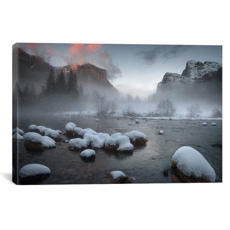"""Yosemite Valley At Sunset // Jianyi Wu (26""""W x 18""""H x 0.75""""D)"""