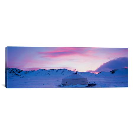 """Yurt On A Frozen Lake (36""""W x 12""""H x 0.75""""D)"""