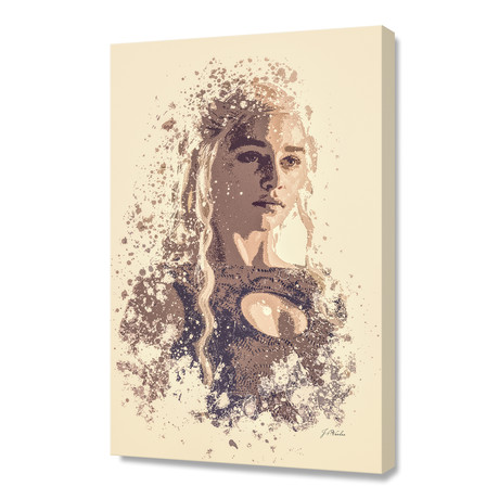 "Emilia Clarke, Game Of Thrones // Stretched Canvas (16""L x 24""H x 1.5""D)"