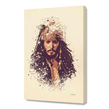 "Pirates of the Caribbean, Jack Sparrow // Stretched Canvas (16""L x 24""H x 1.5""D)"