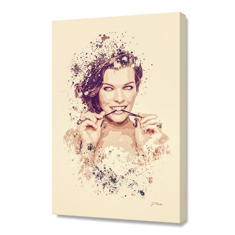"Milla Jovovich // Stretched Canvas (16""L x 24""H x 1.5""D)"