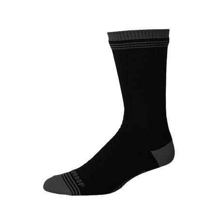 Crosspoint Waterproof Crew Sock // Black + Grey (Small/Medium)