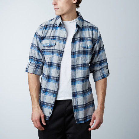 Woven Plaid Flannel // Grey + Blue (S)