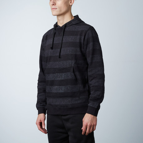 Printed Striped Marl Pullover // Black + Charcoal (S)