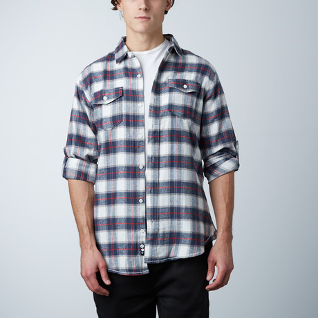 Woven Plaid Flannel // White + Red (S)