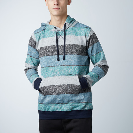 Printed Striped Marl Pullover // Light Blue + Black (S)