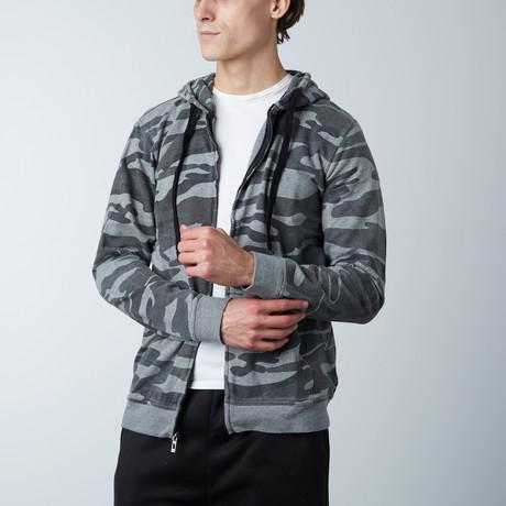 Full Zip Camo Hooded Fleece // Black Camo (S)