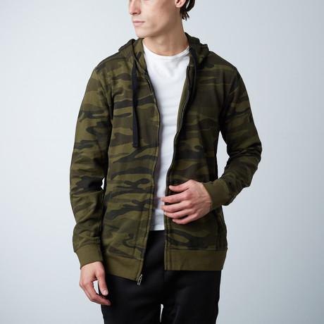Full Zip Camo Hooded Fleece // Green Camo (S)