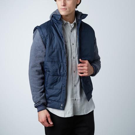 Hooded Fleece Sleeve Puffer Vest // Navy Camo (S)