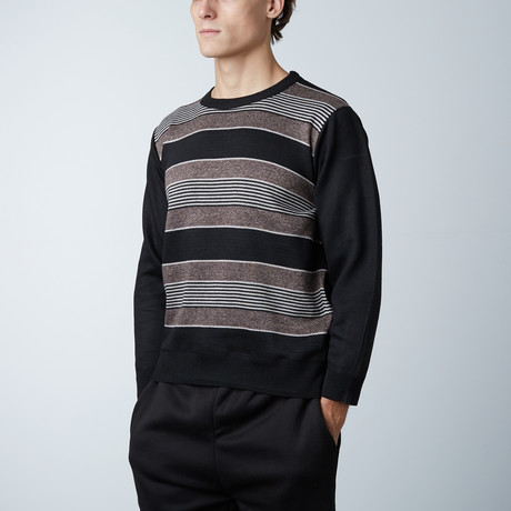 Crew Neck Striped Sweater // Brown (S)