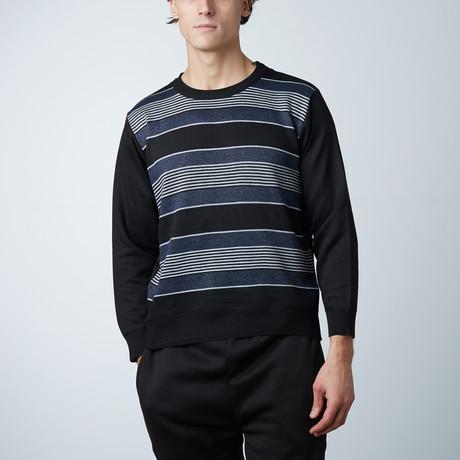 Crew Neck Striped Sweater // Navy (S)