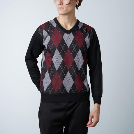 V-Neck Diamond Sweater // Burgundy (S)
