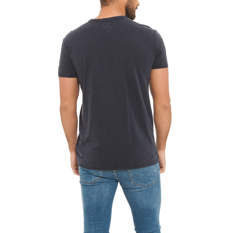 Acid wash t shirt jersey slub dark blue s lonsdale for T shirt dark blue