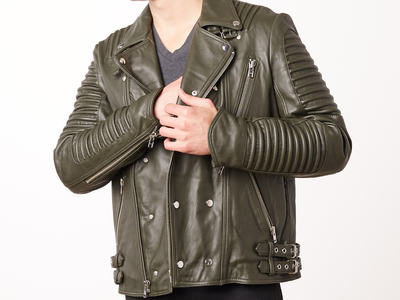 Photo of CLEARANCE: Outerwear We've Got You Covered Mason + Cooper // Moto Leather Jacket // Green (L) by Touch Of Modern