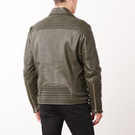 Mason + Cooper // Moto Leather Jacket // Green (S)