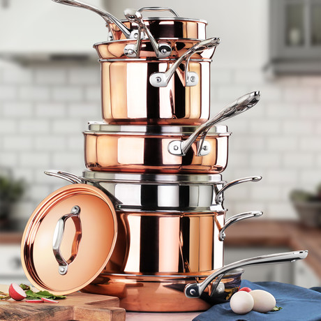 Tri-Ply Copper Clad Induction Ready Cookware Set // 11 Piece