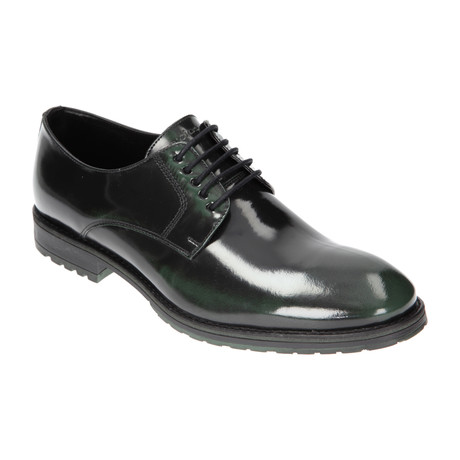 Shiny Lug Sole Derby // Black + Green (Euro: 40)