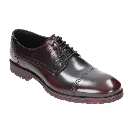 Perforated Cap Toe Derby // Black + Burgundy (Euro: 40)