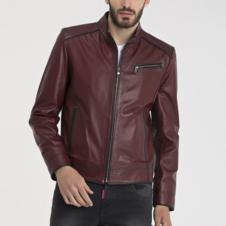 Thurston Leather Jacket // Bordeaux (S)