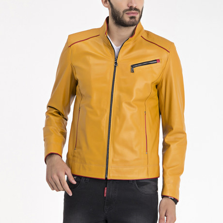 Nihil Leather Jacket // Yellow (S)