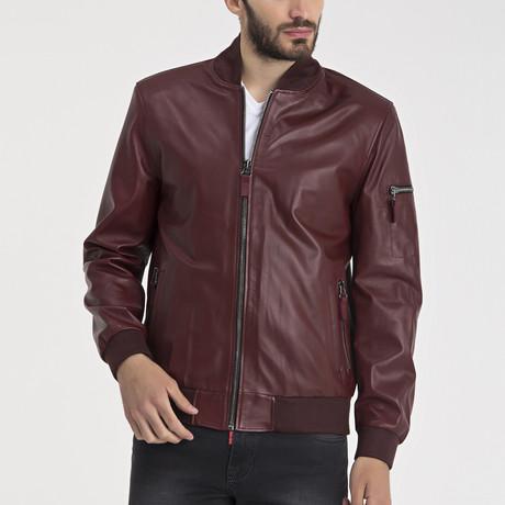 Henry Leather Jacket // Bordeaux (S)