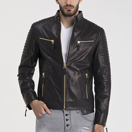 Trent Leather Jacket // Black + Gold (S)
