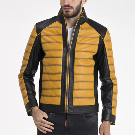 Amiel Leather Jacket // Yellow (S)
