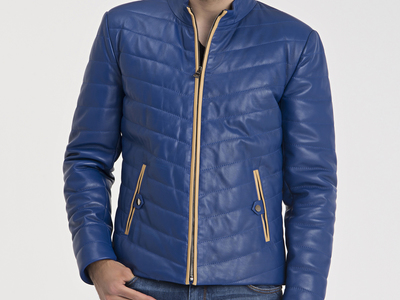 Photo of CLEARANCE: Outerwear We've Got You Covered Fredrick Leather Jacket // Blue (XL) by Touch Of Modern
