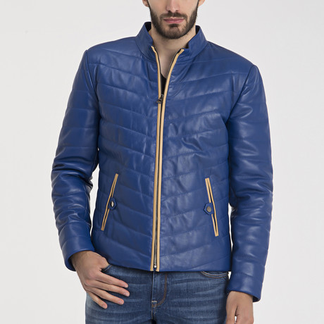 Fredrick Leather Jacket // Blue (S)