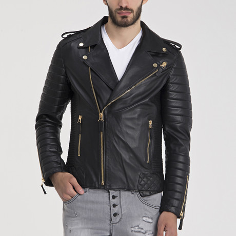 Brandon Leather Jacket // Black + Gold (S)