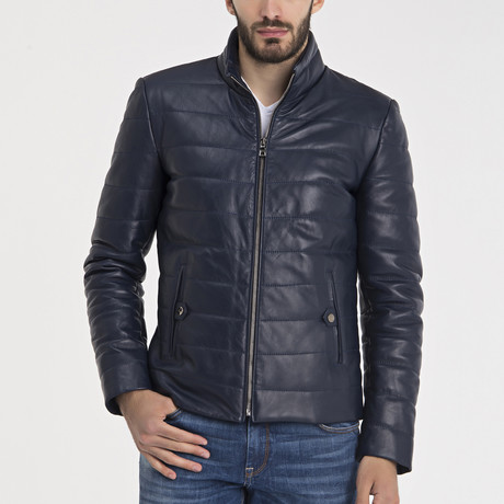 Michael Leather Jacket // Dark Blue (S)