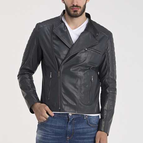 Allen Leather Jacket // Grey (S)