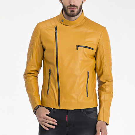 Stan Leather Jacket // Yellow (S)