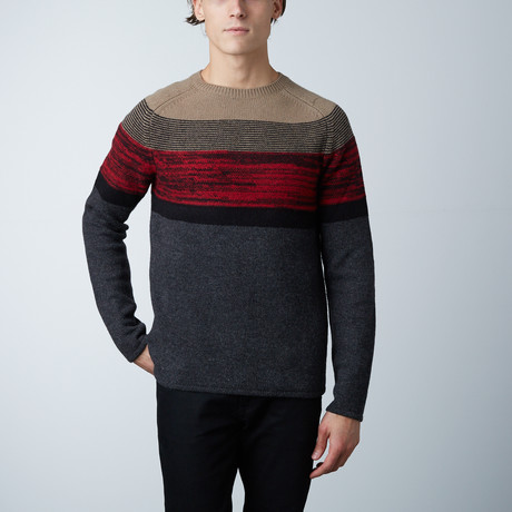 Grepa Striped Sweater Round Collar // Wood (S)