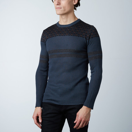 Calgary Round Collar Sweater // Pacific Blue (S)