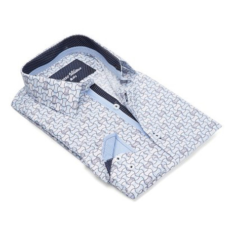 True Modern-Fit Men's Dress Shirt // White + Turquoise (S)