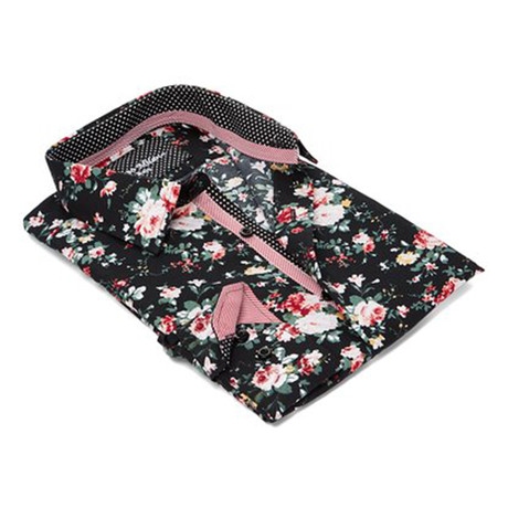 True Modern-Fit Men's Dress Shirt // Black Floral (S)