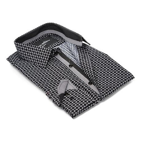 Modern-Fit Men's Dress Shirt // Black Print (S)